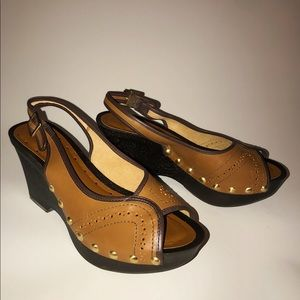 BCBG women's brown leather clog wedges